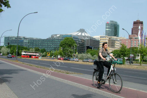 Cycling in the city.