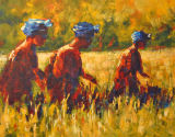 "Picking Rice - 16""x20""acrylic on 3D canvas"