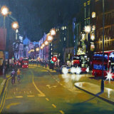"Picadilly at Night 24""x24"" acrylic on 3D canvas"