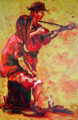 "Buskers 20"" x 30"" acrylic on 3D canvas"
