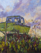 boat at paglesham, acrylic on 3D canvas 18 x 14""