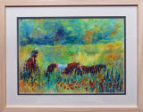 """the drover 15 x 19 5"""", acrylic ink on textured paper, framed under glass"""