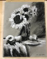 Alison Fennell- Sunflowers in charcoal and pastel