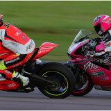 An overtake in the Ducati Cup race