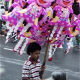 Young balloon seller in Candy