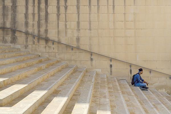 boy on steps