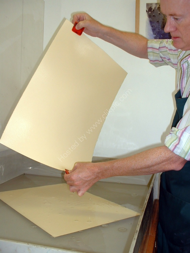 Placing the paper in the water bath