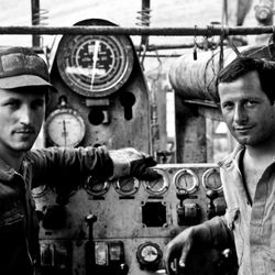 Workers on a drilling rig in Basilicata, Italy 1986