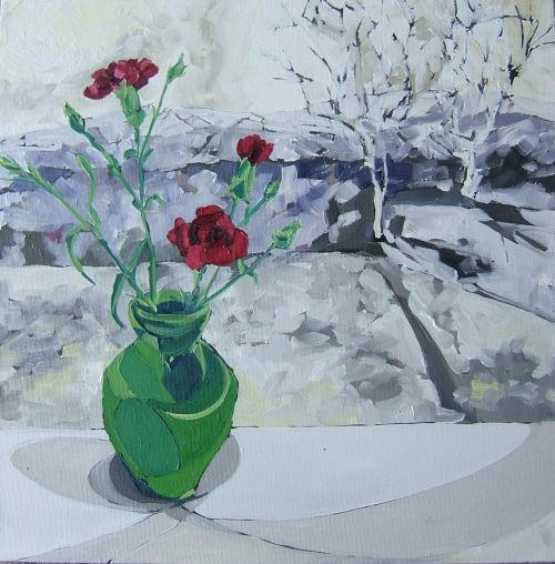 red flowers in winter iii