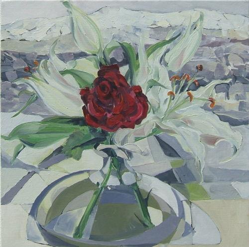 red flowers in winter ii  SOLD