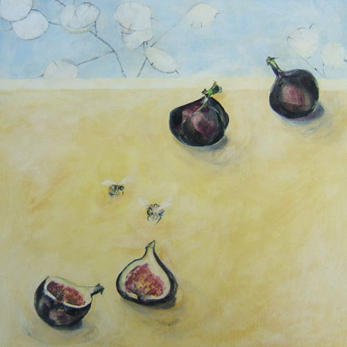 three figs, two bees    SOLD