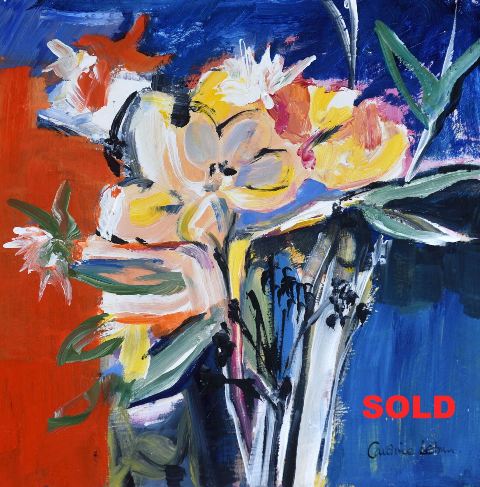 Spring Flowers on Blue 30 x 30