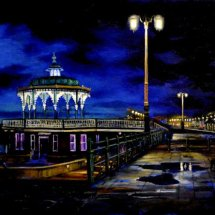 BANDSTAND AT        NIGHT       Acrylic on board  25cm x 47cm