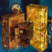 BOXES AND         SPHERES         Acrylic on board    52cm x 40cm
