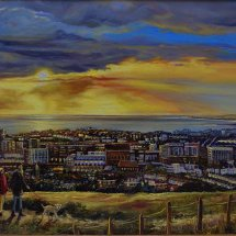 BRIGHTON FROM       THE EAST      Oil on board  29cm x 55cm