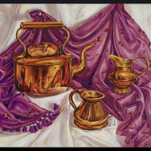 COPPER AND               VIOLET          Oil  on board 45cm x 54cm