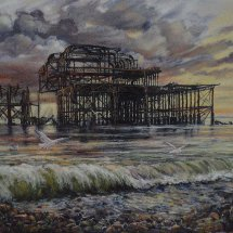 LATE AFTERNOON AT THE WEST PIER. Oil on board. 43cm x 50cm.