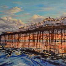 LOW TIDE AT THE PALACE PIER . Oil on board. 35cm x 92cm
