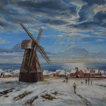 SNOW AT ROTTINGDEAN MILL. Oil on board. 43cm x 35cm