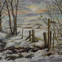 SNOW ON THE SOUTH DOWNS. Oil on board. 25cm x 36cm