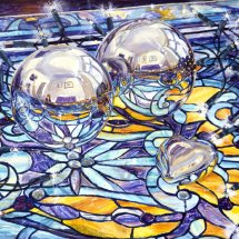 STAINED GLASS        SPHERES         Acrylic on board 28cm x 40cm
