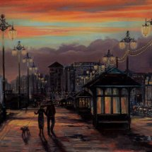 SUNSET ON HOVE SEAFRONT. Oil on board 32cm x 40cm