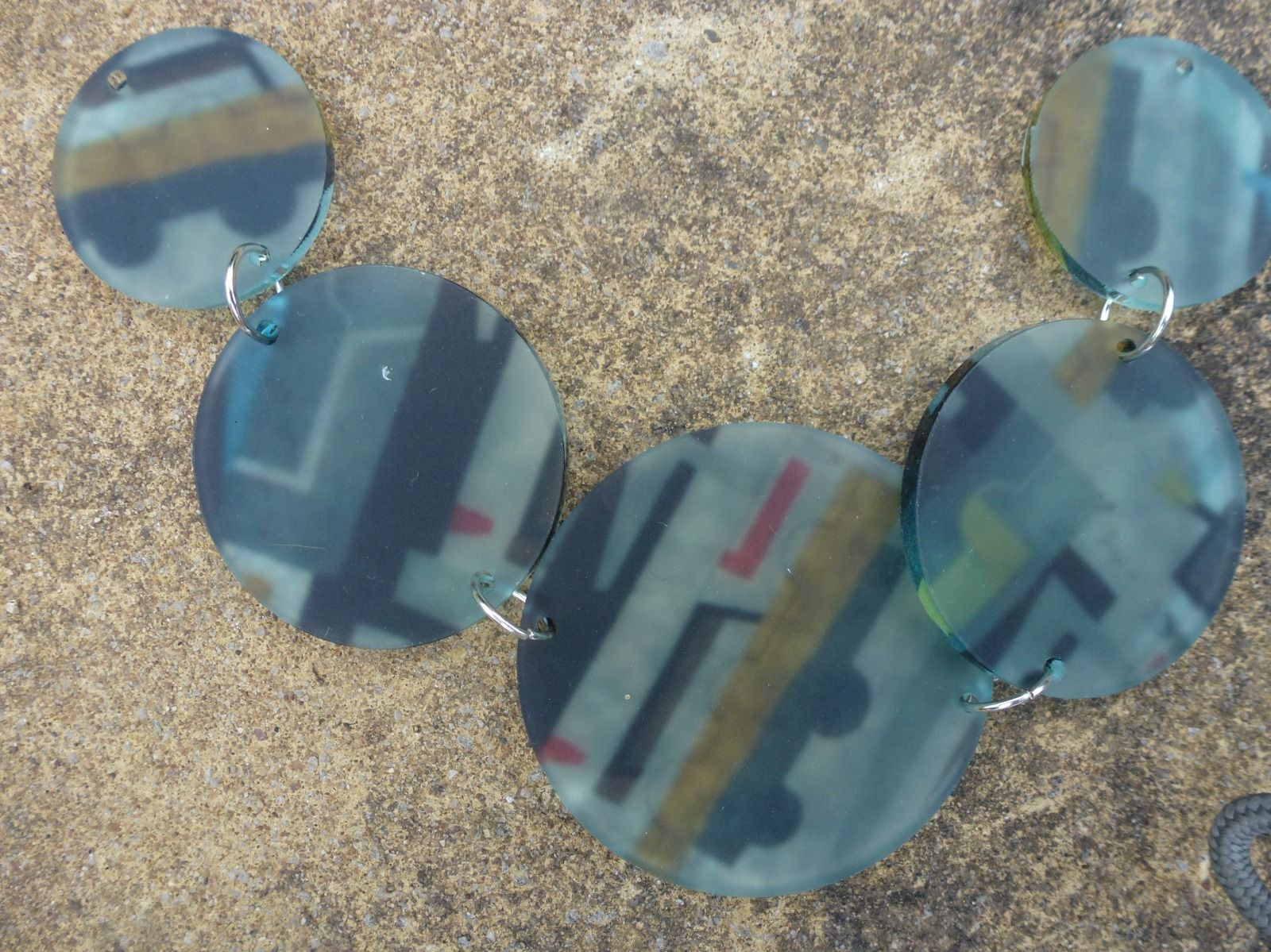 acrylic disc necklace with printed 1950's design