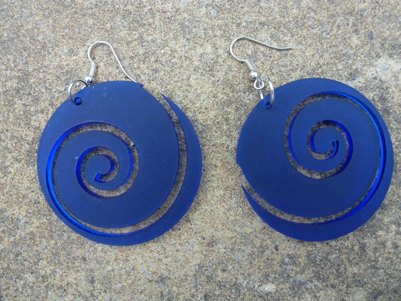 Frosted royal blue large spiral earrings