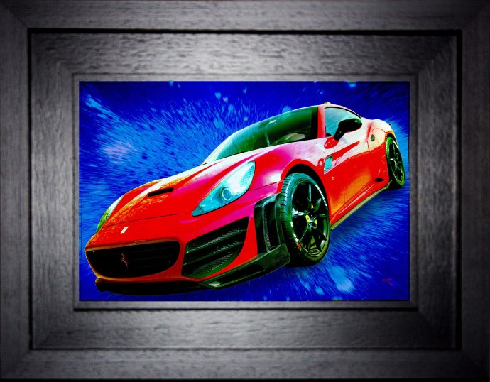 30 cm by 20cm acrylic (approx 44cm by 34 cm overall)   7cm wide deep black hardwood frame