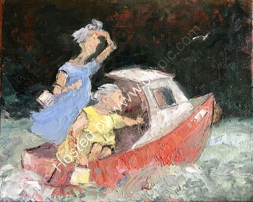 two women in a boat on the river Dart going shopping...
