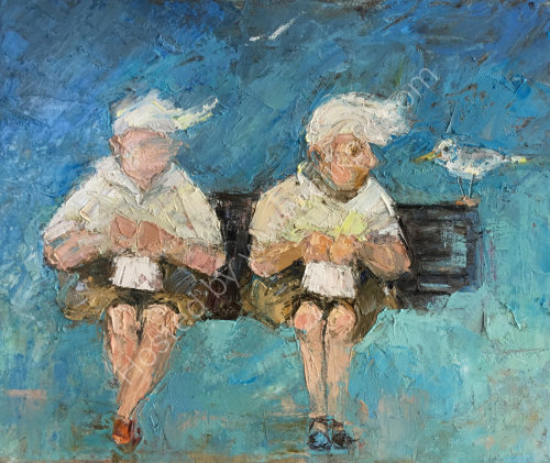 ladies on a seaside bench