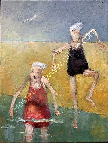 Two elderly ladies daring to bathe