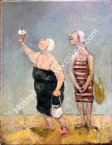 Two lady bathers of a 'certain age' with an ice cream
