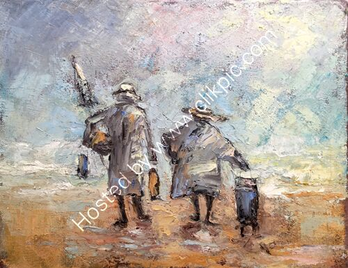 study of two ladies going home off the beach
