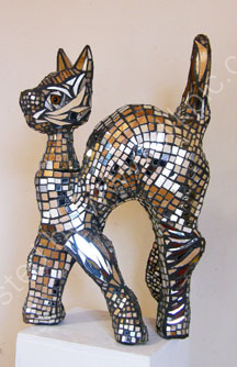 cat  mosaic sculpture 2 BOTH SOLD