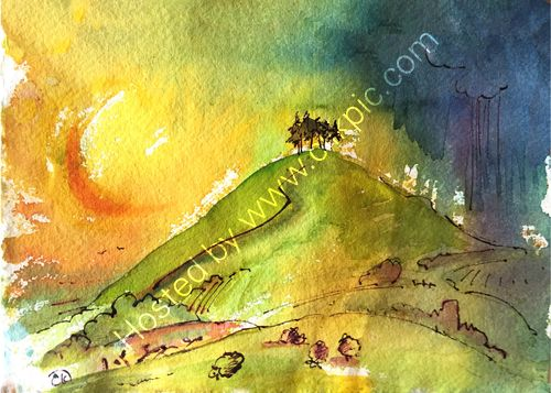 Colmers Hill in the afternoon sun. watercolour and ink