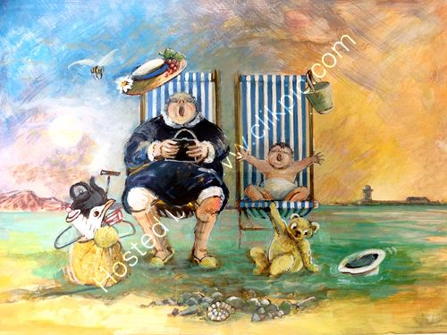 Gran and baby on beach in deckchairs