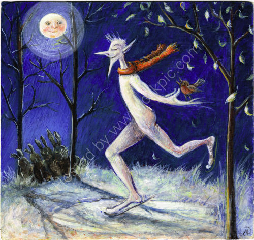 'Jack Frost' egg tempera painting   SOLD