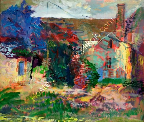 Plein aire painting of old farm buildings