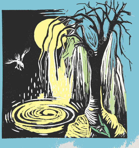 moon tree and bird