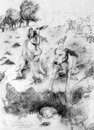 pencil illustration of two dogs  digging at mole hills