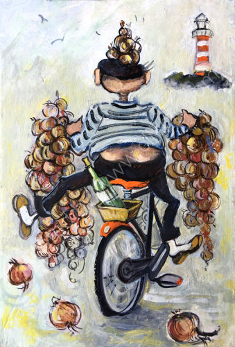 Onion seller on a bicycle