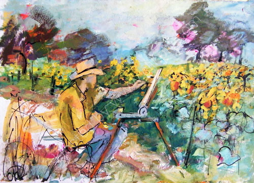 Phil. painting sunflowers in the  Loire NFS