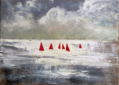 RED SAILS IN LYME BAY  SOLD