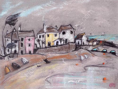 pastel sketch of St Ives town beach
