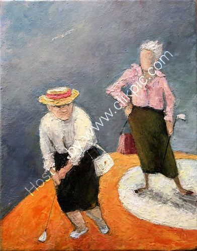 Two ladies playing clock golf