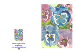 Blue & Purple Pansies A6 Card