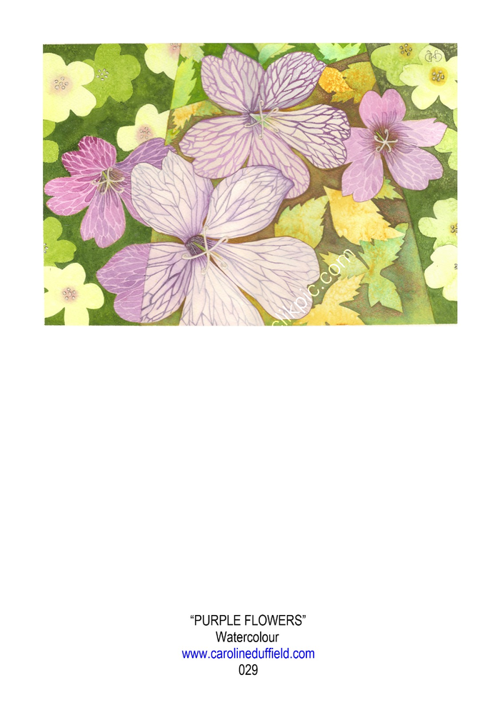 PURPLE FLOWERS A6 CARD