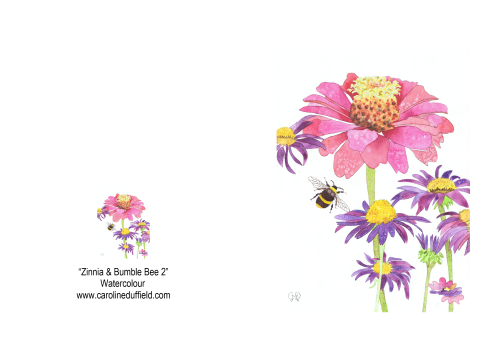 Zinnia and Bumble Bee A6 Card