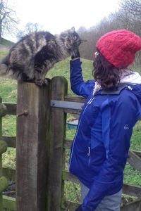 Cathy with Maine Coon Cat